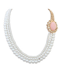 Fashion Pink Pearl Decorated Multilayer Design Alloy Korean Necklaces