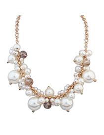 Elegant White Pearl Decorated Simple Design Alloy Korean Necklaces