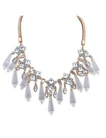 Brilliant White Diamond Decorated Waterdrop Shape Design Alloy Korean Necklaces