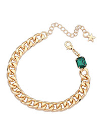 Delicate Dark Green Diamond Decorated Oval Shape Design Alloy Korean Fashion Bracelet