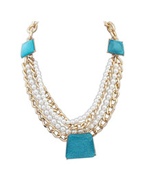 Elegant Blue Pearl Decorated Multilayer Design Alloy Bib Necklaces