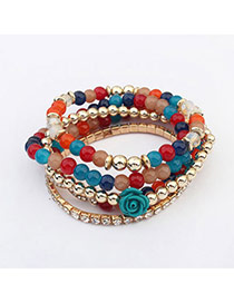 Pretty Multicolor Beads Decorated Rose Shape Multilayer Design  Acrylic Korean Fashion Bracelet