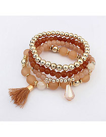 Glamour Light Coffee Beads Decorated Multilayer Tassel Design  Acrylic Korean Fashion Bracelet
