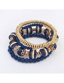 Fresh Dark Blue Beads Decorated Multilayer Design  Alloy Korean Fashion Bracelet