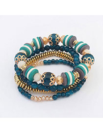 Fresh Dark Green Beads Decorated Multilayer Design  Alloy Korean Fashion Bracelet