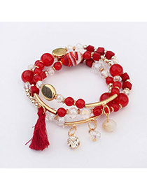 Fashion Red Beads Decorated Multi-element Design  Alloy Korean Fashion Bracelet