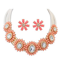 Extravagant Pink Diamond Decorated Flower Design  Alloy Jewelry Sets