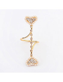 Fashion Gold Color Pearl Decorated Heart Shape Design  Alloy Korean Rings