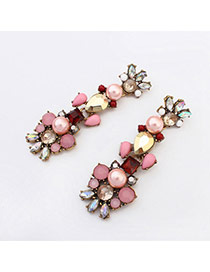 Tinsel Pink Gemstone Decorated Simple Design Alloy Korean Earrings
