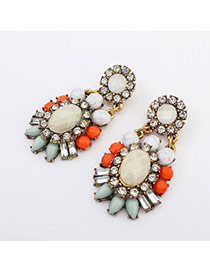 Vintage Multicolor Gemstone Decorated Flower Design