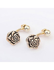 Popular Bronze Rose Shape Decorated Simple Design  Plastic Korean Earrings