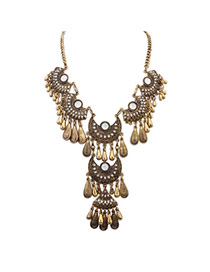 Retro Antique Gold Gemstone Decorated Tassel Design Alloy Bib Necklaces