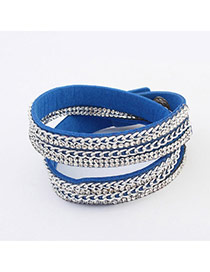 Fashion Blue Chains Decorated Double Layer Design  Pu Korean Fashion Bracelet
