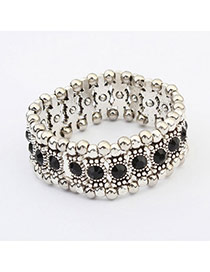Fashion Black Diamond Decorated Simple Design  Alloy Korean Fashion Bracelet