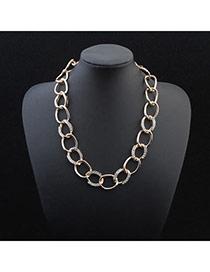 Exquisite Gold Color Diamond Decorated Chain Design Alloy Chains