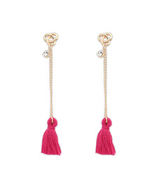 Bohemia Padparadscha Diamond Decorated Tassel Design  Alloy Stud Earrings