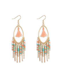 Bohemia Pink Beads Decorated Tassel Design Alloy Korean Earrings