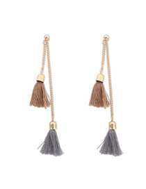 Bohemia Khaki Tassel Decorated Simple Design  Alloy Stud Earrings