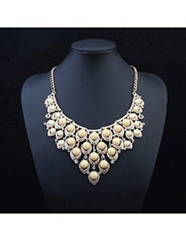 Exquisite Beige Gemstone Decorated Hollow Out Design Alloy Bib Necklaces