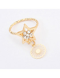 Temperamental Gold Color Starfish Shape Decorated Simple Design Alloy Korean Rings