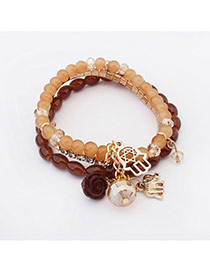 Elegant Khaki Elephant&flower Pendant Decorated Beads Multilayer Design Alloy Korean Fashion Bracelet