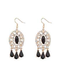 Elegant Black Tassel Diamond Decorated Hollow Out Design  Alloy Korean Earrings