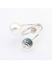 Fashion Silver Color Diamond & Pearl Decorated Heliciform Design  Alloy Korean Rings