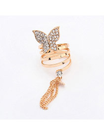 Fashion Gold Color Tassel Deocorated Butterfly Shape Design  Alloy Korean Rings