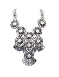 Fashion Ancient Silver Coins Decorated Round Shape Design Alloy Bib Necklaces