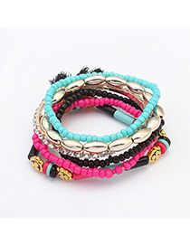 Fashion Plum Red+light Blue Beads&tassel Decorated Multilayer Design  Alloy Korean Fashion Bracelet