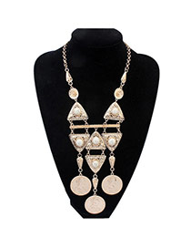 Fashion White Tassel Pendant&round Gemstone Decorated Simple Design Alloy Bib Necklaces