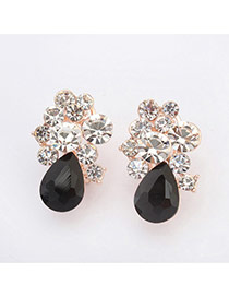 Sweet Black Water Drop Shape Diamond Decorated Simple Design  Alloy Stud Earrings
