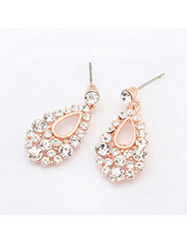 Sweet Gold Color Diamond Decorated Water Drop Shape Design Alloy Stud Earrings