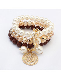 Fashion Coffee Round Pendant Decorated Multilayer Design  Resin Korean Fashion Bracelet
