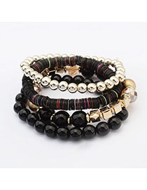 Fashion Black Beads Decorated Multilayer Design  Plastic Korean Fashion Bracelet