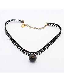 Vintage Black Beads Pendant Decorated Simple Short Design Alloy Pendants