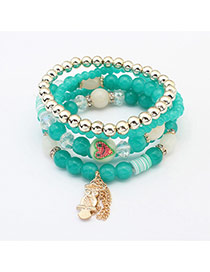 Fashion Green Owl Pendant Decorated Multilayer Design  Glass Korean Fashion Bracelet