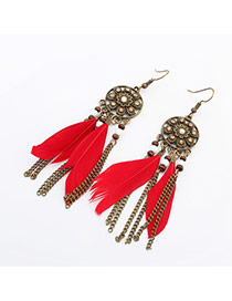 Retro Red+antique Gold Feather Decorated Flower Pattern Design  Alloy Korean Earrings