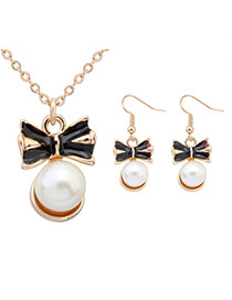 Sweet Black+white Pearl Decorated Bowknot Shape Pendant Design  Alloy Jewelry Sets