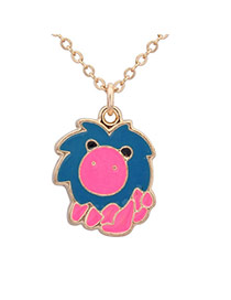 Sweet Blue+plum Red Leo Pendant Decorated Simple Design Alloy Chains