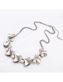 Fashion Silver Color Trumpet&pearl Decorated Simple Design Alloy Bib Necklaces