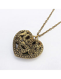 Fashion Bronze Hollow Out Heart Shape Pendant Decorated Simple Design Alloy Bib Necklaces