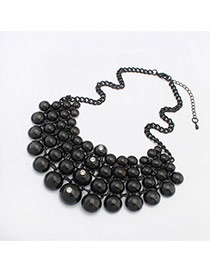 Fashion Black Beads Hand-woven Decorated Collar Design Alloy Bib Necklaces