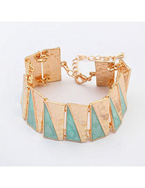 Fashion Light Blue Triangle Matching Decorated Simple Design Alloy Korean Fashion Bracelet