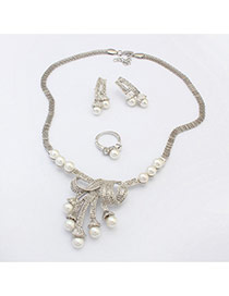 Fashion Silver Color Pearl Tassel Pendant Decorated Simple Design Alloy Jewelry Sets