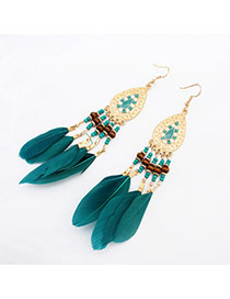 Vintage Green Beads &feather Decorated Water Drop Shape Tassel Design Alloy Korean Earrings