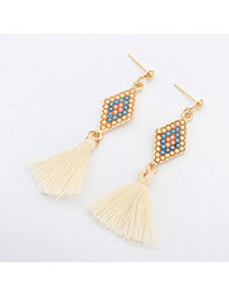 Fashion White Rhombus Pattern Decorated Tassels Design Alloy Stud Earrings