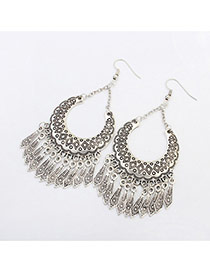 Vintage Siliver Color Rhombus Pattern Decorated Tassels Design Alloy Korean Earrings