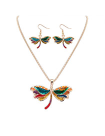 Cute Gold Color Dragonfly Shape Pendant Decorated Simple Design Alloy Jewelry Sets