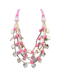 Elegant Plum Red Multilayer Beads Weave Pendant Decorated Collar Design Alloy Bib Necklaces